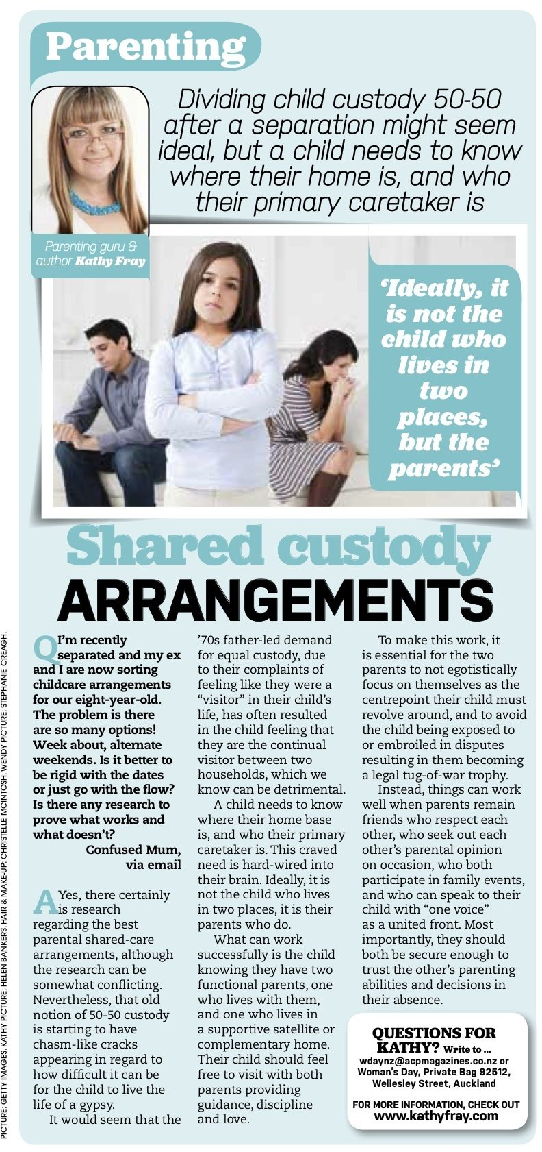 Shared custody arrangements